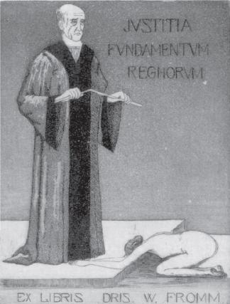 Ekslibris doktora praw W. Fromma (1925). Autor: Wilhelm Spethmann.